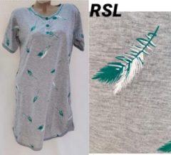 Merkloos / Sans marque Dames nachthemd korte mouw met verenprint groen XXXL 46-48