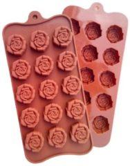 Bruine ProductGoods - Siliconen Chocoladevorm Roosjes - Chocolade Mal Fondant Bonbonvorm - Ijsblokjesvorm