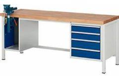 Werkbank Serie 8185, 4 Schubladen, 1 Schrank mit Tür, inklusive Schraubstock