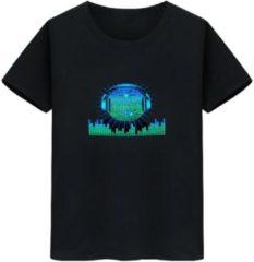 Merkloos / Sans marque LED T-shirt - Equalizer - Zwart - Koptelefoon Bal - Maat S