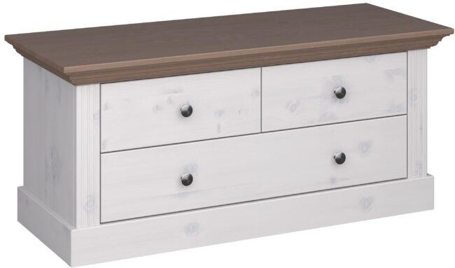 Afbeelding van DS Style Tv-meubel Monaco 104 cm breed in wit whitewash met steen