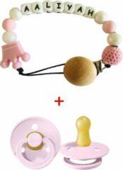 JDBOS Handig en mooi Speenkoord roze kroon met naam - Meisje – kralen - Inclusief BIBS speen 0 6 maanden