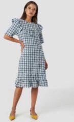 NA-KD Trend Frill Detail Dress - Blue