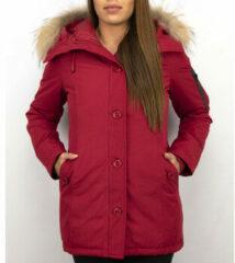 Rode Donsjas Thebrand Winterjassen - Dames Winterjas Canada Lang - Bontkraag - Parka