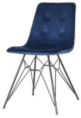 Trend Living - Dining Chair Mick - Blauw - Fluweel