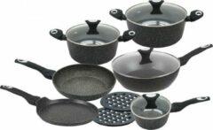 Klausberg 7201 pannenset – 12 delig – keramische/marmer coating - gesmeed aluminium – alle warmtebronnen - non stick - inductie - zwart