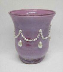 ZoeZo Design Waxinelichthouder in lila met witte parel, set van 2 stuks, glas: 9,5 x 8 cm Ø