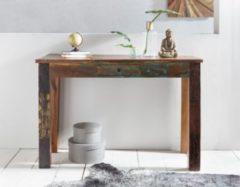 Wohnling Konsolentisch 120 x 50 x 84cm cm DELHI Recycling Holz Shabby 1 Schublade Moderner Design Schreibtisch Mango Massivholz Vintage Landhaus Anr