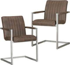Wohnling 2er Set Esszimmerstühle MAGNUS Retro Design Braun Mikrovelourl Vintage Küchenstühle 55 x 86 x 50 cm mit Armlehnen Freischwinger Wildlederop
