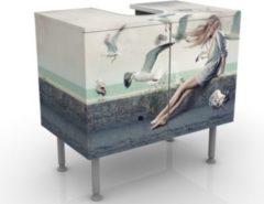 PPS. Imaging Waschbeckenunterschrank - Kaffee am Meer - Maritim Badschrank Weiß