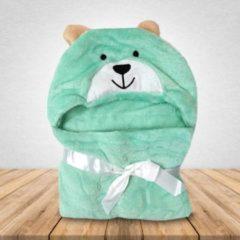 Groene Babydeken Hond - Wikkeldeken & Badcape - 100 x 70 cm - Kraamcadeau - Comfy Capes
