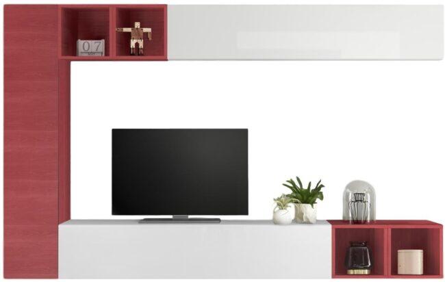 Afbeelding van Pesaro Mobilia TV-wandmeubel set Sultan in hoogglans wit met rood