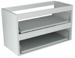 Sub 16 wastafelonderkast met 2 lades zonder fronten 70 x 52 cm, hoogglans wit
