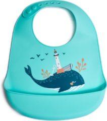 Turquoise Telano® Slabbetje met Opvangbakje Walvis - Siliconen Slabber Baby Peuter - Verstelbaar en Waterproof - Kraamcadeau