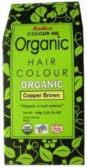 Bruine Radico COLOUR ME ORGANIC Copper Brown 100% Natuurlijke BIO Organic 9-Kruiden Haarverf Zonder Ammoniak Ammonia, PPD, PTD, Peroxide, Waterstofperoxide etc. o.a. Henna 100g