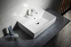 Aqualine Sistema keramische wastafel 60x42cm wit