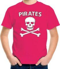 Bellatio Decorations Fout piraten shirt / foute party verkleed shirt roze voor jongens en meisjes - Foute party piraten kostuum kinderen - Verkleedkleding M (134-140)