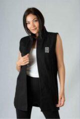 La Pèra Zwart Vest Mouwloos Vrouwen Mouwloos vest met revers Dames - Maat L