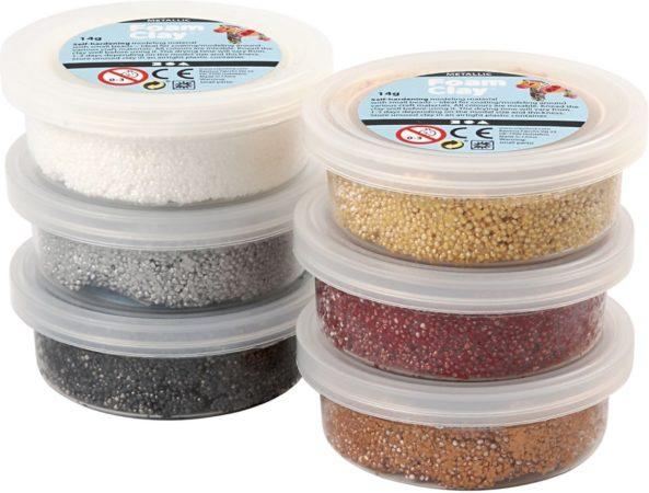 Afbeelding van Bruine Creativ company Foam Clay set met 6 Metallic Kleuren - klei