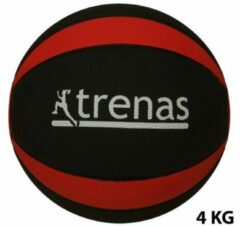 Trenas - Pro Medicijnbal - Medicine bal - Rubber - 4 kg - Zwart-Rood