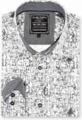 Gentile Bellini Heren Overhemd - Slim Fit - Geometric Alphabet - Wit - Maat M