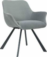 Licht-grijze Alora Stoel Alan Lichtgrijs - Velours - relaxstoel - fauteuil - eetkamerstoel