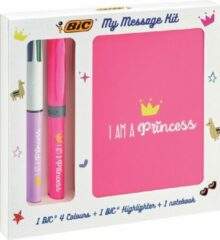 Roze Bic Princessen Message Kit , 4 Kleuren balpen , markeerstift highlighter en notitieboekje ft A6