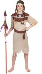 Bruine LUCIDA-CAMBODIA - Beige Indianen kostuum voor meisjes - M 122/128 (7-9 jaar) - Kinderkostuums