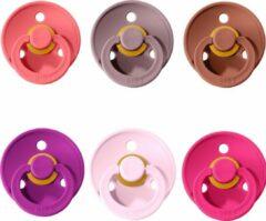 Donkerrode BIBS Fopspeen 0-6 maanden |Set 6 stuks|Raspberry, Coral, Orchidee, Woodchuck, Heather, Baby pink| Maat 1|T1