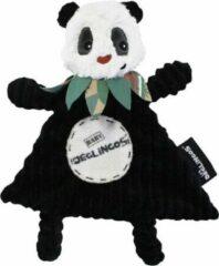 Les Deglingos Knuffeldoekje Panda Zwart/wit 27 Cm