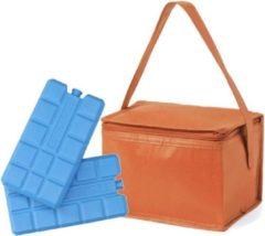 Merkloos / Sans marque Kleine mini koeltas oranje voor 6 blikjes inclusief 2 koelelementen - Compacte koelboxen/koeltassen en elementen