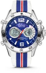 Colori Horloge Holland Sports staal/nylon rood-wit-blauw 48 mm 5-CLD132