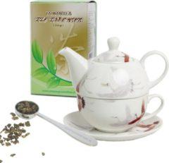 Beige Tze tji chun taiwan tea Luxe geschenken set voor moederdag, Valentijn, liefdes cadeau, tea for one kraanvogel theepotje 400 ml met kop en schotel stalen maatlepel plus 250 gram gezonde groene thee van de hele blaadjes zonder suiker.