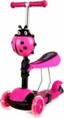 HA-MA TOOLS Mini Scooter - Zadel Step Met 3 Wielen - Driewieler - LED Wielen - Roze