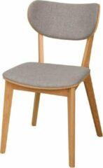 Licht-grijze Nordiq Cato houten eetkamerstoel - Stoffen zitting - Lichtgrijs