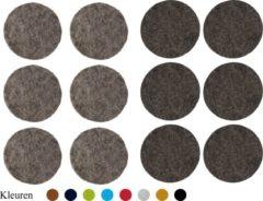 WRDay Barr Vilt onderzetters 10x10cm Grijs Grafiet kleur 12 stuks Ronde Onderzetters Decoratie Bar Glazen onderzetter