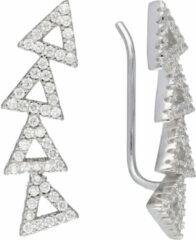 Classics&More Lovenotes oorbellen - earcuffs - oorklimmer - zilver - gerodineerd - driehoeken - zirkonia
