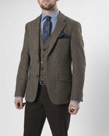Afbeelding van Groene Harris Tweed Normale pasvorm, 2 knoops colbert met zijsplitten en elbow patches Harris Tweed jackets Heren Colbert Maat EU50