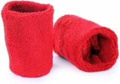 Merkloos / Sans marque Pols zweetbandjes rood voor volwassenen set van 8x stuks - Sport bandjes