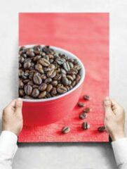 Witte Creatief Art Wandbord: Koffiebonen in een rode kom - 30 x 42 cm