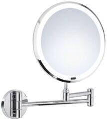 Saniclass Make-Up Spiegel / Scheerspiegel Wandmontage 7x vergrotend met verlichting 20cm chroom Z626