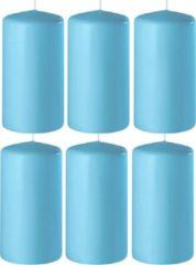 Enlightening Candles 8x Turquoise cilinderkaarsen/stompkaarsen 6 x 12 cm 45 branduren - Geurloze kaarsen turquoise - Woondecoraties