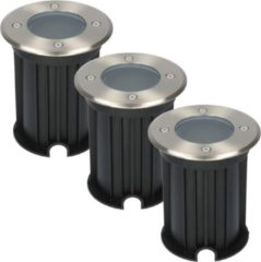 Roestvrijstalen HOFTRONIC™ 3x Maisy dimbare LED Grondspot rond RVS excl. lichtbron IP67 straal waterdicht 3 jaar garantie