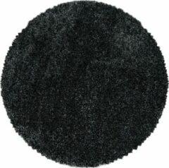 Antraciet-grijze Impression Himalaya Pearl Soft Rond Shaggy Hoogpolig Vloerkleed Antraciet - 200 CM ROND