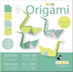 Fridolin Kids Origami: ZWAAN 15x15cm, met zelfklevers, 20 bladen met 4 verschillende tekeningen en zelfklevers, 6+