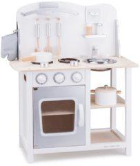 Zilveren New Classic Toys - Kinderkeuken - Bon Appetit - Wit/Zilver - Aanrechthoogte is 46 centimeter