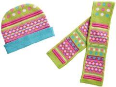 Heless poppenkleding muts en sjaal groen/roze 28-35 cm