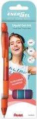 Pentel energel Pentel BL107 EnerGel gelpen, 0,4mm schrijfbreedte, assorti met 4 kleuren (oranje, roze, lichtblauw,violet)