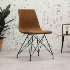 Zwarte Vince Design Industriele Eetkamerstoel Lauren Cognac(industrieel - leer - zware belasting)