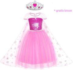 Hetbeteremerk.nl Frozen Elsa Deluxe roze prinsessen jurk - verkleedjurk - maat 110 (labelmaat 120) - gratis Tiara - verkleedkleding - prinsessen jurk